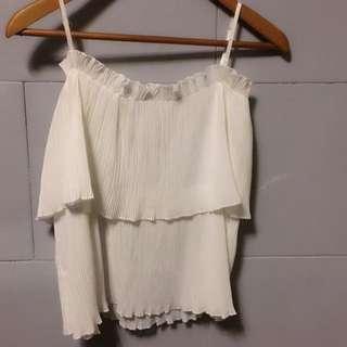 全新性感氣質無袖上衣高品質雪紡材質 百摺雪紡紗