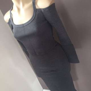 Ladies Off Shoulder Sweater Dress Skirt Crop Top Long Sleeve Winter Size 8 S