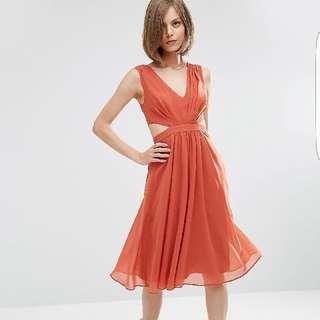 🚚 ASOS Occasion Dress In Rust, UK 6
