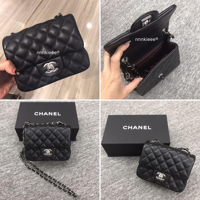 7b9b4043b35c15 100% Authentic & new Chanel Classic Mini square 17cm 經典黑魚子醬牛皮拼銀扣, Luxury,  Bags & Wallets on Carousell