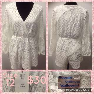 Valleygirl White Lace Jumpsuit Size 12