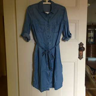 Chambray Shirt Dress - Size 8 / Free Postage