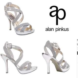 ALAN PINKUS Glittery silver shimmer heels