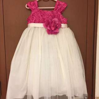 Pink and white gown for kids 4yo