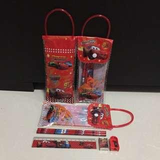 Brand New Disney Cartoons Lightning McQueen Cars Kids Children Goodies Bag Pencils Case Cum Bag 6 In 1 Stationery Sets !!