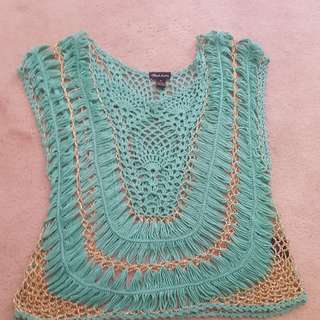 Blue And Gold Knit Top
