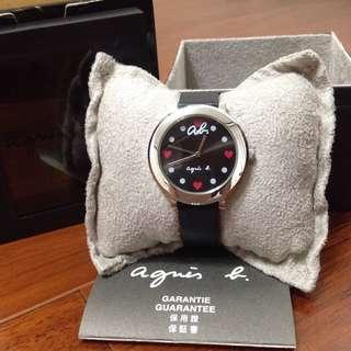 🚚 agnes b 手錶香港專櫃購入完整盒裝保證書 名牌真皮精品防水石英錶日韓時尚腕錶 #含運最划算