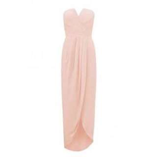 Light pink strapless long dress