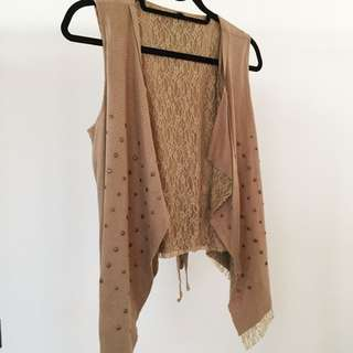 Wasabees Studded Suedette Vest With Lace (Size S)