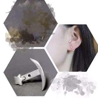 韓國 銀色一款兩戴星星耳環