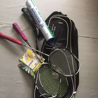 Badminton Racquet With Shuttlecock And Bag