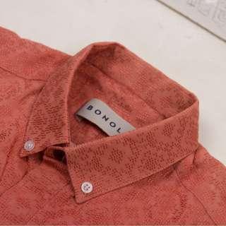 SXL-Kemeja batik murah merah salem