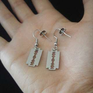 Silver Fake Razor Blade Emo/Goth/Punk Dangle Earrings