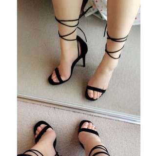 Strappy Black Suede Heels