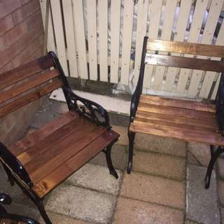 2 refurbished outside chairs
