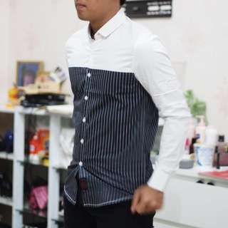 Long white mix black stripes
