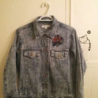 New! Embroidered Honey Punch Denim Jacket