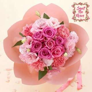 """My love letter to you"" Pink Roses, Carnations & Eustoma Designer bouquet with FREE SURPRISE DELIVERY"