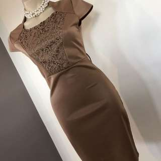 Ladies Lace Brown Work Wiggle Pencil Dress Size 8 10 S M