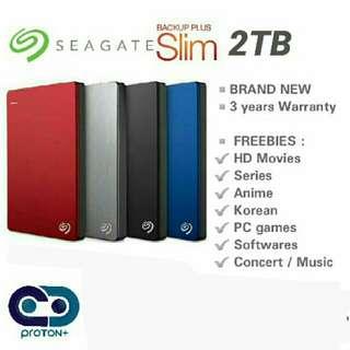 2TB Seagate Backup Plus Slim External Hard Drive