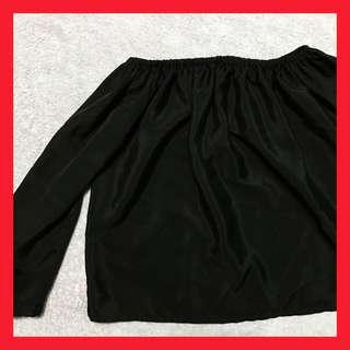 Black Long Sleeve Off Shoulder Top