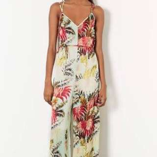 TOPSHOP Lux Palm Strappy V Jumpsuit