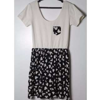 REPRICED Black&White Mickey Dress