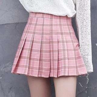 instock;tennis checkered pink skirt/skort
