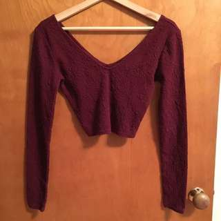 Burgundy Long Sleeve Crop Too
