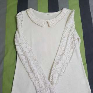Yellowish White Longsleeve Blouse