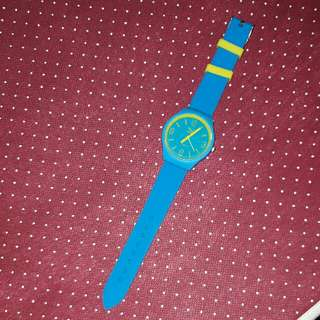 Yellow And Blue Wristwatch