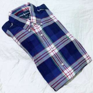 POLO Ralph Lauren Blue Checkered Large Short Sleeves