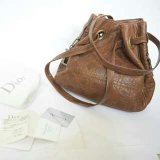 Christian Dior Cannage Drawstring Lambskin Brown