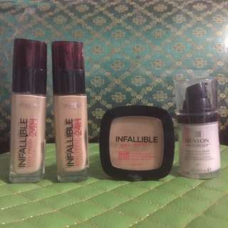 Loreal Infallible Stay Fresh Foundation 24 Hr ; Loreal Infallible Pro-Matte Powder ; Revlon Photoready Perfecting Primer