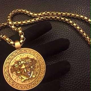 Unisex VERSACE Madusa Gold Necklace