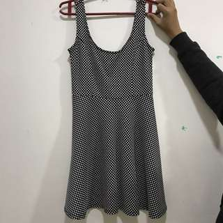 F21 Polkadot Black And White Dress