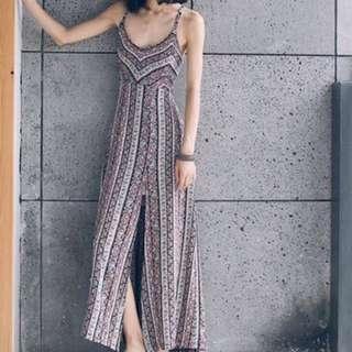 波希米亞渡假長裙性感沙灘裙 (民族風)