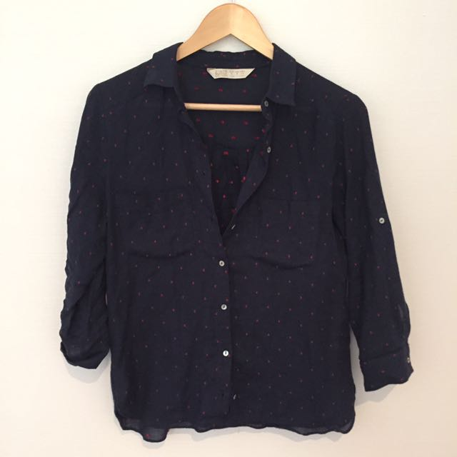 Dotted Zara Shirt In Navy