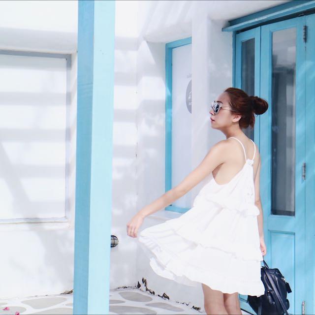 雪紡荷葉邊渡假風洋裝