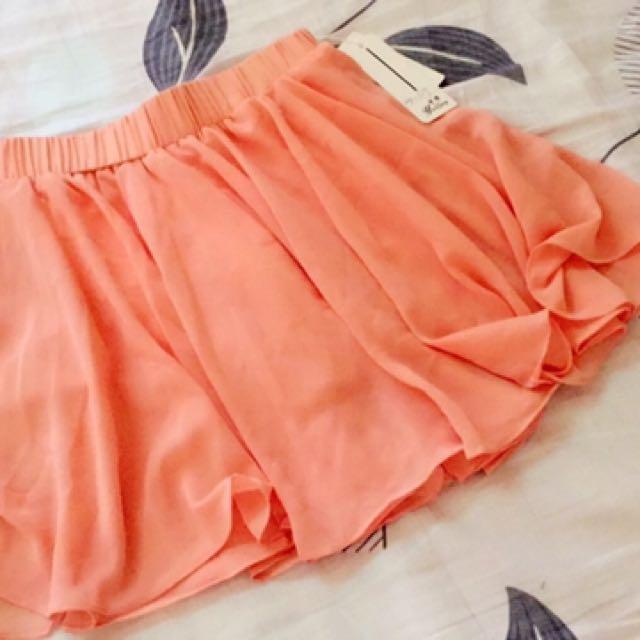 亮橘色雪紡褲裙