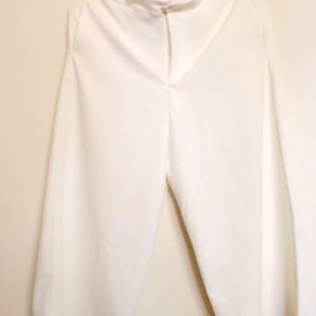 高質感白色寬褲