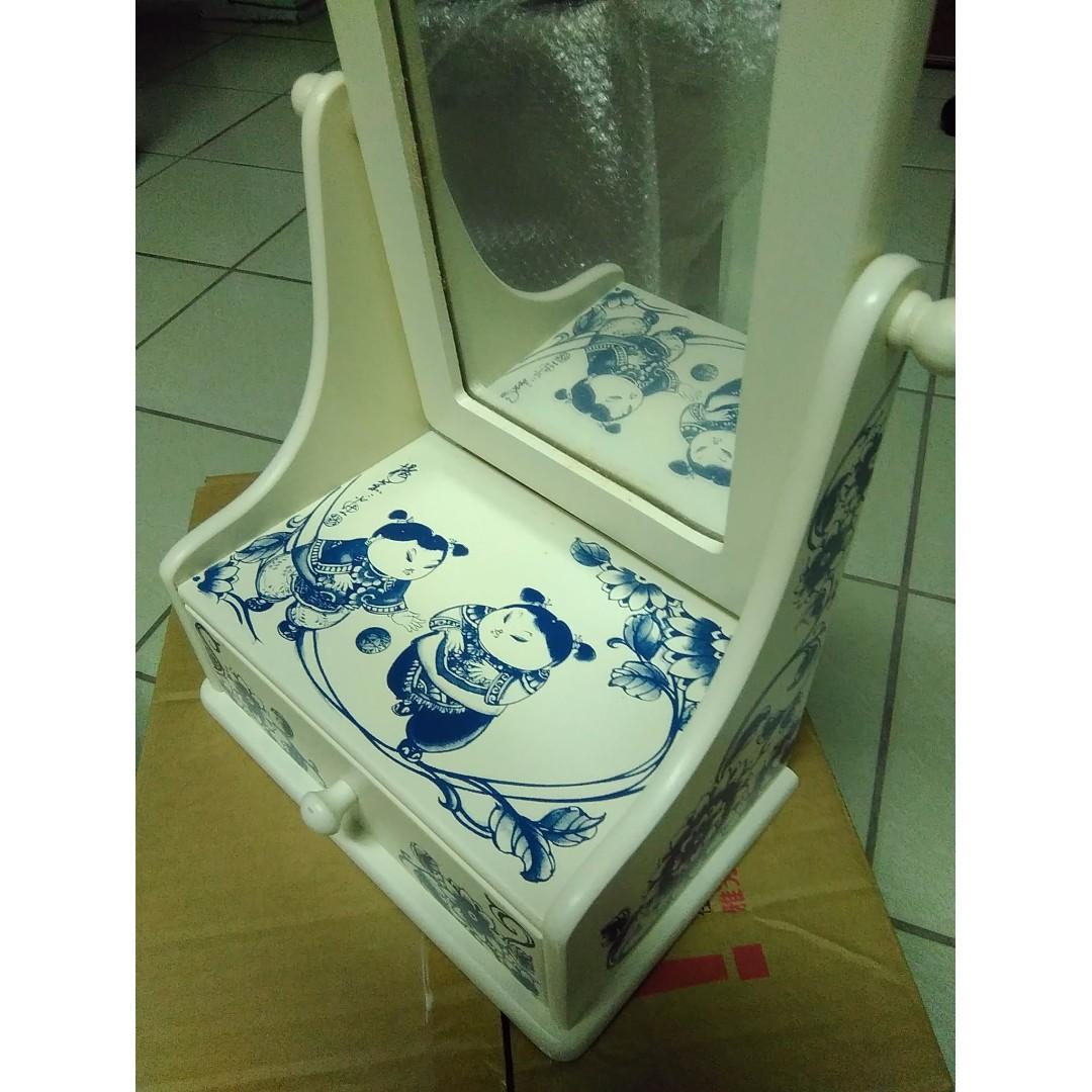 中國風化妝鏡檯 飾品抽屜盒