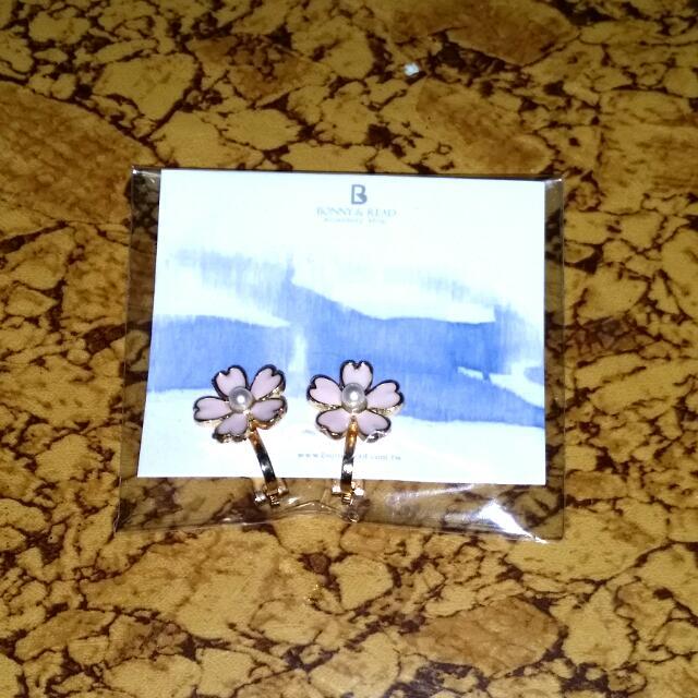 全新櫻花夾式耳環 耳夾