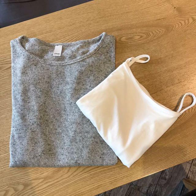轉賣甜心時尚韓國連線 灰色針織透膚上衣