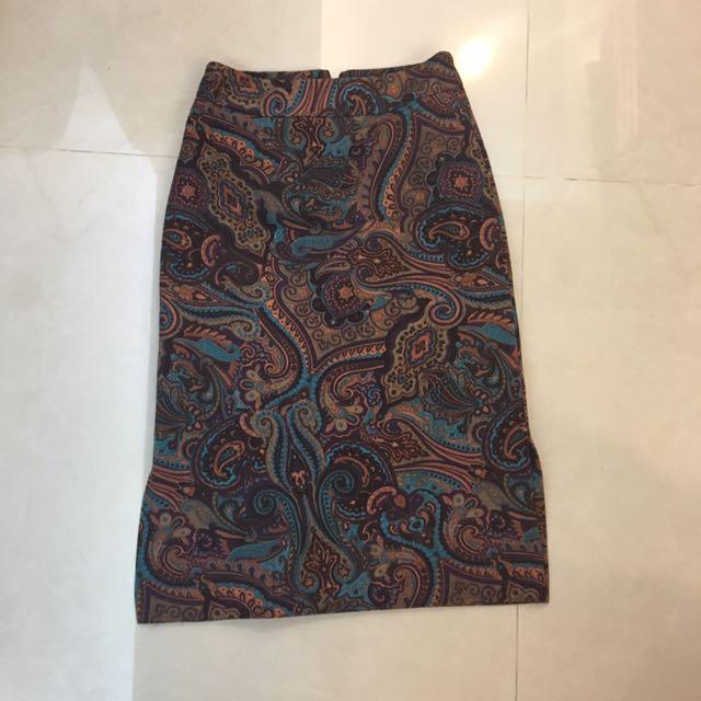 復古 古著 變形蟲 花紋 民俗風 長裙 過膝裙 A字裙 拉鍊