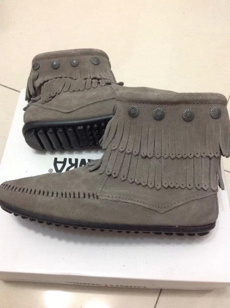 【全新正貨私家珍藏】 Minnetonka Double Fringe Side Zip Boot流蘇豆豆底短靴691T