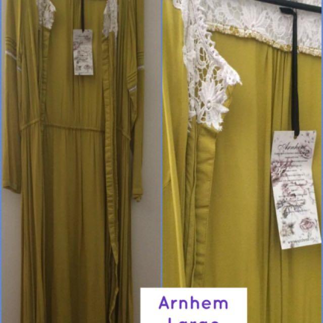 Arnhem Kimono Dress Jacket Hummingbird Spring Green Size Large