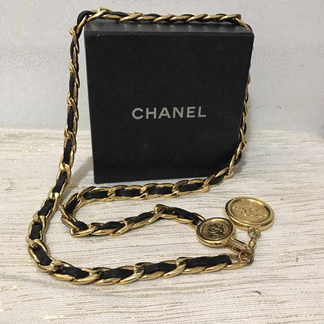 Authentic Chanel Iconic Black & Gold Chain Belt With Coin Emblem