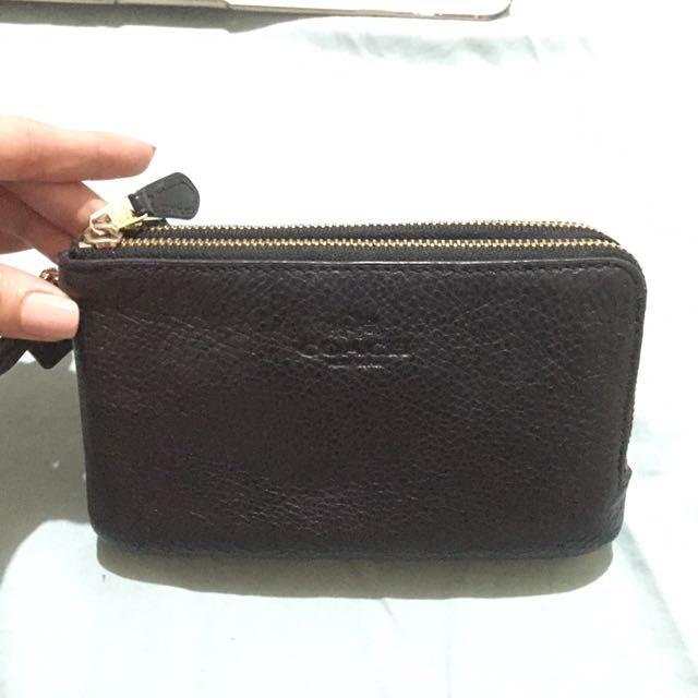 Authentic Coach Double Zip Wristlet-Black