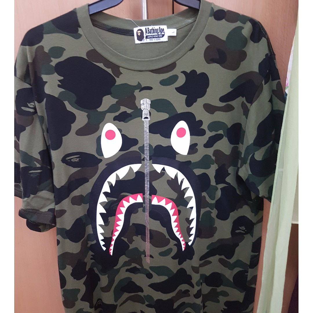 3801defd850 BAPE SHARK TEE CAMO GREEN Used Once Size L